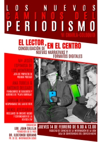 Cartel de la VI edición de 'Los nuevos caminos del periodismo' - Diseño de Carlos Aranda.